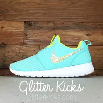Nike Roshe One Breeze Customized by Glitter Kicks - TIFFANY BLUE/YELLOW/WHITE