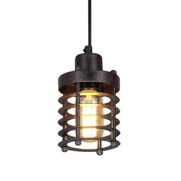 LNC Mini Cage Pendant Lights Rust Ceiling Lights Industrial Pendant Lighting