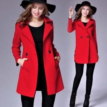 Chicloth Lapel Pocket Woolen Long Coat
