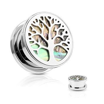 Abalone Inlaid under Life Tree Top 316L Surgical Steel Screw Fit Flesh WildKlass Tunnel Plugs