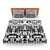 "Nika Martinez ""Geometrie Black & White"" Gray Lightweight Duvet Cover"