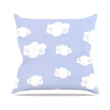 """Heidi Jennings """"Happy Clouds"""" White Blue Outdoor Throw Pillow"""