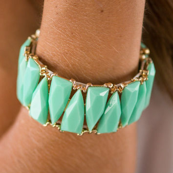Triangle Beaded Stretch Bracelet, Mint