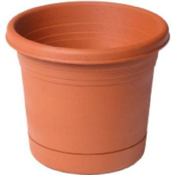 Southern Patio RR1606TC Rolled Rim Planter with Saucer, Terra Cotta, 16""