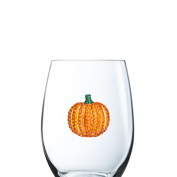 Pumpkin Stemless Jeweled Wine Glass