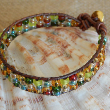 Multi colored seed beads, leather bracelet, japanese seed beads, boho leather wrap, single wrap leather bracelet, bohemian, leather cuff
