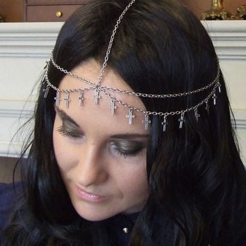Silver Crosses Chain Headdress / Headband / Head Piece / Hair Accessory / Circlet / Headpiece / Forehead Jewelry / Bohemian Gothic Celtic
