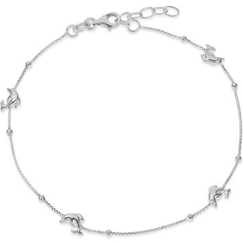 925 Sterling Silver Leaping Dolphin Pod Box Chain Ankle Bracelet