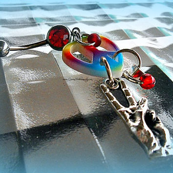 Peace Sign Belly Ring, Hippie, Bohemian, Hipster, Beachwear,Direct Checkout, Ready to ship,
