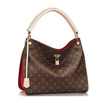 LV Women Shopping Leather Tote Authentic Louis Vuitton Monogram Gaia Shoulder Handbag Article:M41620 Cherry Made in France