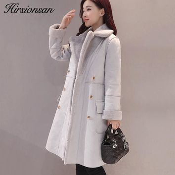 Hirsionsan Winter Jacket Women 2017 Lambswool Coats Warm Thick Turn-down Collar Overcoats Suede Leather Elegant Long Coat