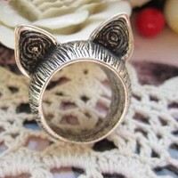 Wholesale Lovely Cat's Ears Embellished Special Design Ring Silver