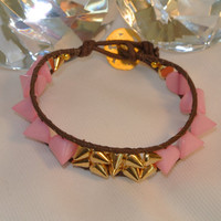 Pink Spikes Rock - Hand Sewn Spike Bracelet