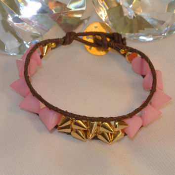 Pink Spikes Rock  Hand Sewn Spike Bracelet by GGSparkle on Etsy