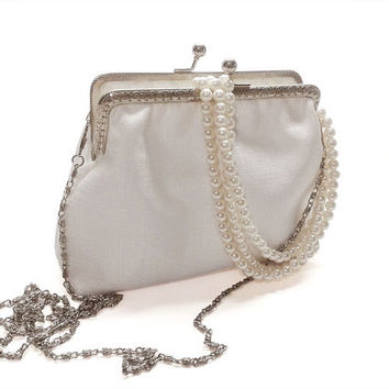 White Bridal Clutch Purse - Bridesmaid Clutch Purse - Wedding Clutch Purse - Evening Clutch Purse - Silver Frame