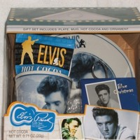 Elvis Presley Blue Christmas Gift House w/Plate, Mug, Cocoa and Ornament