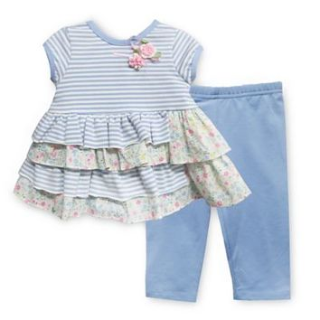 Pippa & Julie™ Blue Floral 2-Piece Short Sleeve Tunic and Legging Set