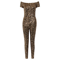 Buy French Connection Cosmic Sparkle Jumpsuit, Tiger Gold | John Lewis