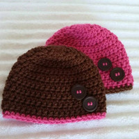 Brown and Pink Baby Beanie Set, Baby Beanie, Baby Girl Beanie, Newborn Beanie, Crochet Baby Hat, Set of Two Baby Beanies, Twin Beanie Set