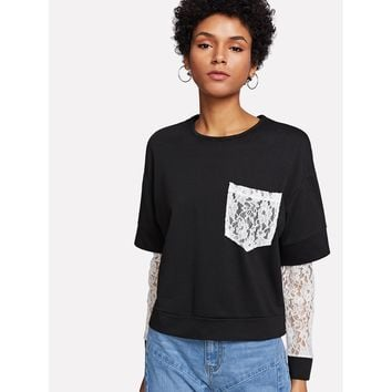Contrast Lace 2 In 1 Tee BLACK