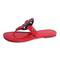 Tory Burch Vermillion Red Miller Patent Leather Sandal