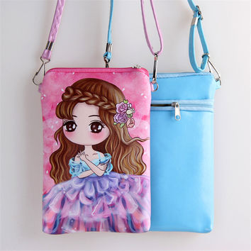 Cute girls messerge bag cartoon printed wedding doll long-haired bride pink double pull PU leather shoulder bags lady best gift