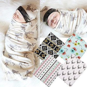 2Pcs/Set Swaddles+Headband! Baby Swaddle Wrap Muslin Blanket Girls Cotton Flower Nursery Cover