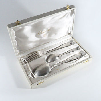 Christofle Silver-Plated Set in its White Box Case, Ribbon Tie Model, Fork, Large Spoon Tea Spoon, Silverware Cutlery Flatware, Wedding Gift