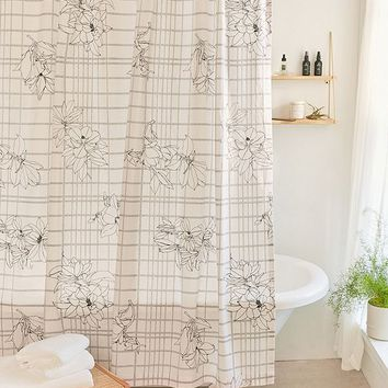 Magnolia Grid Shower Curtain | Urban Outfitters