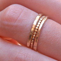 Bold Statement  3 stackable 14k GF rings  -   Hammered  soldered ring made to order