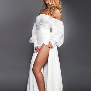 Bohemian White Blouse Off Shoulders One Button Cuffs Bishop Long Sleeves and Ties at the Back Victorian Style