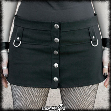 Mini SKIRT black Industrial Goth Punk Rocker Cyperpunk Futuristic