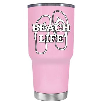 The Beach Life Sandals on Pretty Pink 30 oz Tumbler Cup