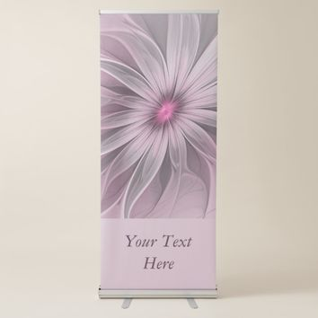 Pink Flower Waiting For A Bee Abstract Art Text Retractable Banner