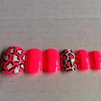 Pink and white leopard print fake nails
