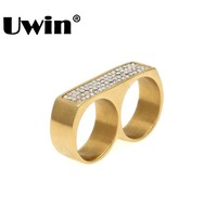 Uwin New Cool Two Finger Rings Hip Hop Full Iced Out Rhinestones Stainless Steel Gold Silver Color Men Punk Party Ring Size 9/10