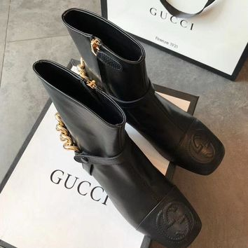 Gucci Leather Ankle Boot With Removable Chain #1486