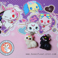 Sailor Moon Luna Artemis Cat Charm Set