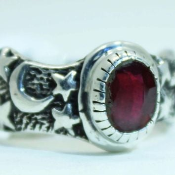 Sterling Silver Ruby Moon and Star ring