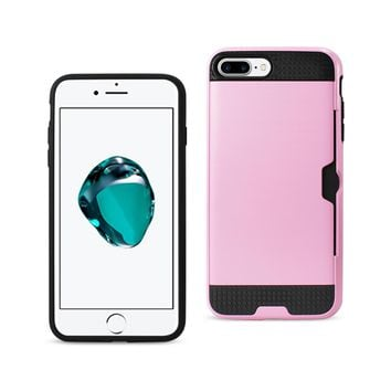 New Slim Armor Hybrid Case With Card Holder In Pink For iPhone 7 Plus