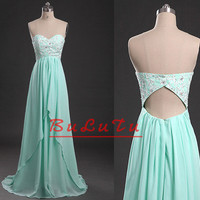 Mint green Sweetheart Strapless Applique Hole back Chiffon Prom dress/ Party dress/ Bridesmaid dress/ Pageant dress/ Banquet dress