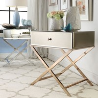 INSPIRE Q Genoa X Base Mirrored Accent Campaign Table | Overstock.com Shopping - The Best Deals on Coffee, Sofa & End Tables