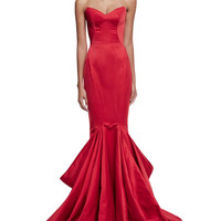 Zac Posen Strapless Pleated Mermaid Gown, Hibiscus