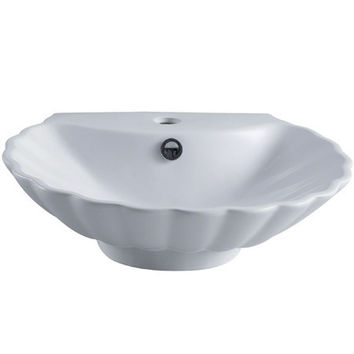 EV9207 Oceana White China Vessel Bathroom Sink with Overflow Hole & Faucet Hole