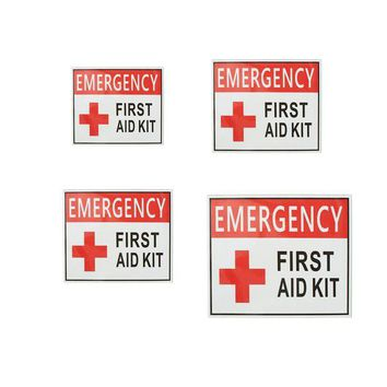 VONL8T 4 Size outdoor camping hiking emergency first aid Sticker waterproof Label Signs Red Cross Health Safety Vinyl White Red