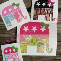 Multicolor Pattern preppy Elephant with Bow