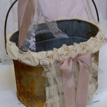 Rusty decorated metal pail rustic DIY wedding flower girl basket alternative shabby chic primitive home decor Anita Spero