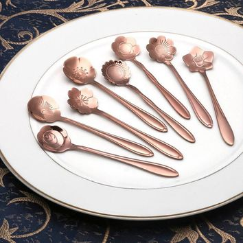 Stainless steel Nice Vintage Flower Shape Ice cream Tea Coffee Spoon Small Condiment Spoons Sugar Soup Levert Dropship 20mar10