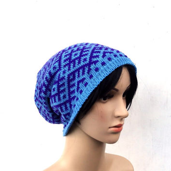 knitted wool winter hat, knit blue purple cap, women men patterned slouche, knitting tam, clocche ,faire isle hat, knit head dress,