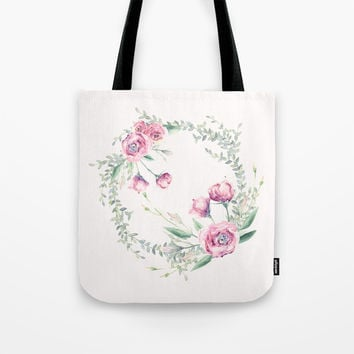 pink floral wreath Tote Bag by sylviacookphotography